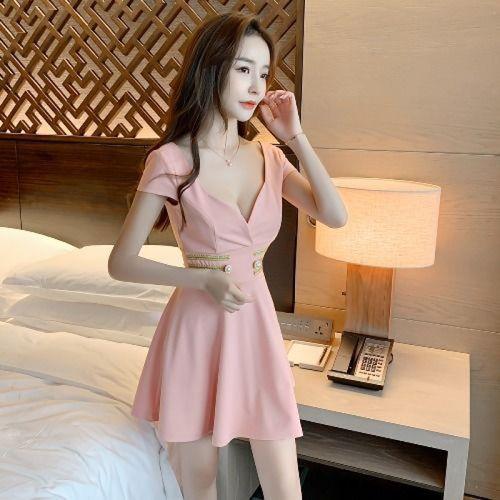 伞若21年连衣裙女夏天裙子酒店新款连衣裙性感公主服按摩技师低胸工作
