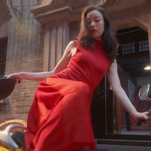 红色连衣裙女收腰显瘦2021新款流金岁月倪妮朱锁锁