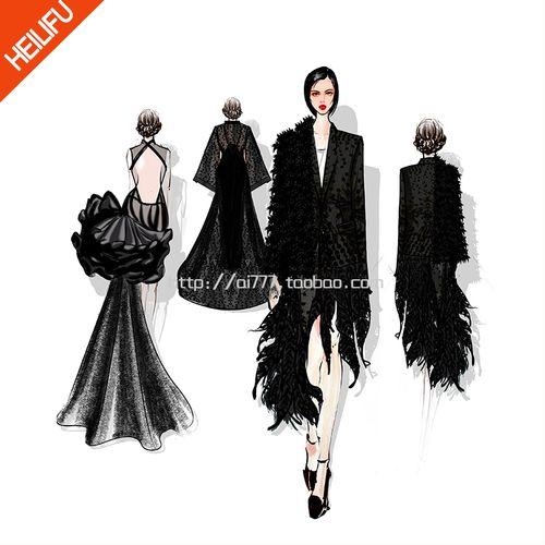 服装设计系列定制生产服装效果图款式图代画电绘手绘