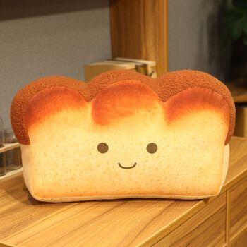 可爱仿真土司面包抱枕床头大号靠枕毛绒玩具创意靠垫玩偶女生 微笑款