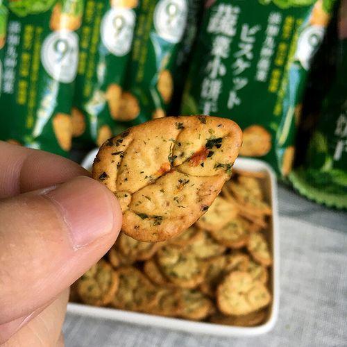 日式蔬菜小饼干零食海苔咸味40g小包装蔬菜饼干薄脆整箱 休闲食品