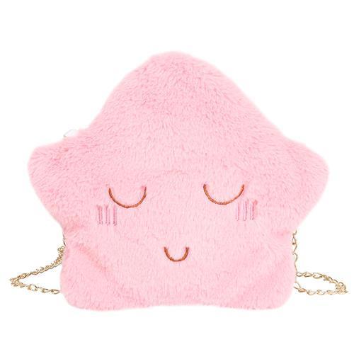 儿童包包可爱毛绒云朵表情单肩包小学生斜挎包女孩链条手机零钱包