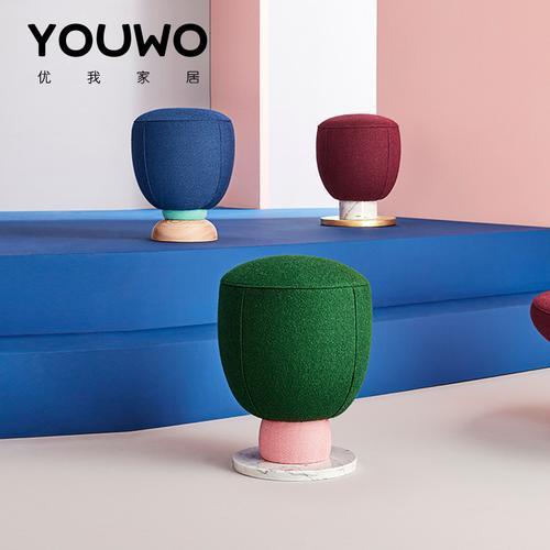 北欧现代简约轻奢设计师马卡龙彩色软糖布艺矮凳客厅
