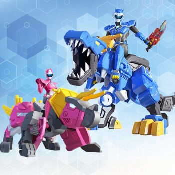 迷你特工队x超级恐龙力量弗特雷小杰炫龙机甲战士合体