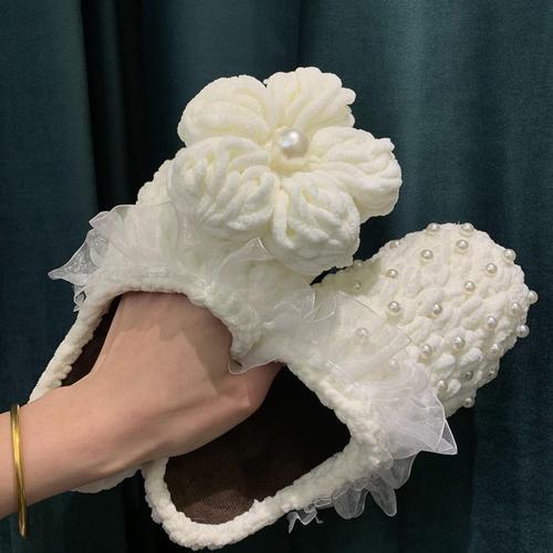 手工编织diy泡芙花棉拖鞋材料包工具冰条线钩针粗毛线