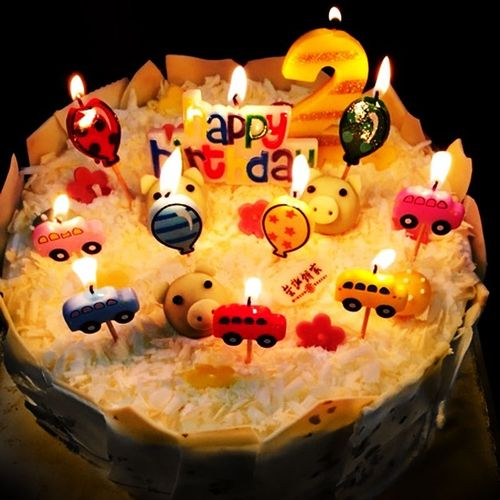 装饰气氛蛋糕惊喜装饰品男孩创意造型数字单个2岁生日