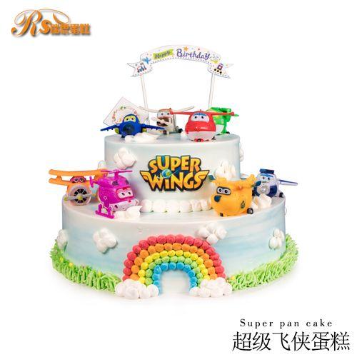 深圳广州同城配送卡通儿童飞机 机器人乐迪 超级飞侠场景生日蛋糕