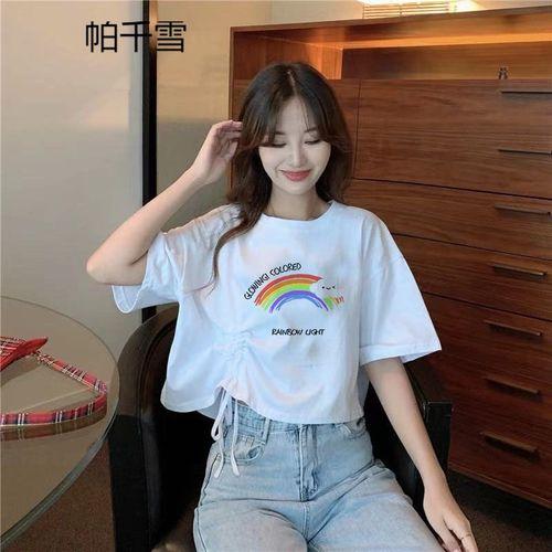 帕千雪短袖t恤女士衣服夏季上衣 短袖t恤女超火韩版宽松抽绳设计感