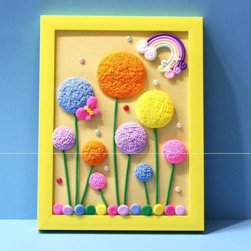 新儿童简单相框粘土画diy幼儿童手工制作超轻粘土彩泥