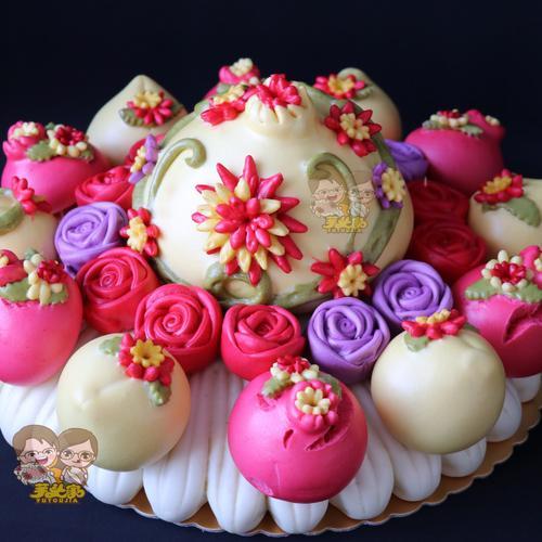 胶东花饽饽生日礼物大寿桃老人长辈祝寿礼品纯手工花样馒头花馍馍