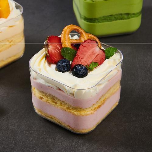 方形慕斯杯冰淇淋杯透明杯水果蛋糕杯一次性硬塑料杯子布丁ps包邮