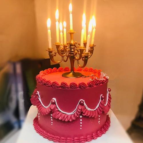 ins复古风欧式小烛台蛋糕装饰摆件螺纹网红生日蜡烛甜品台插件