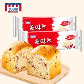 【2袋组合装】曼可顿 美味方系列红豆面包 营养早餐食品下午茶零食