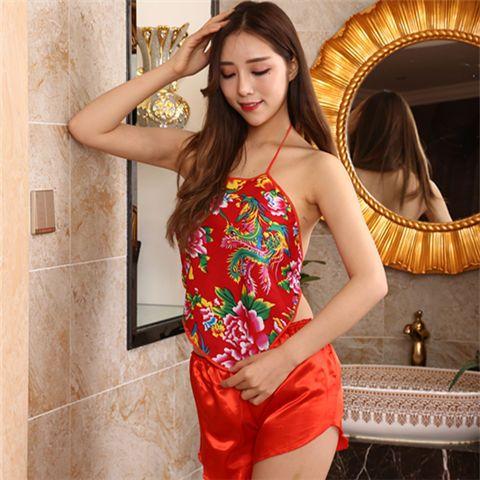 女士肚兜情侣牡丹龙凤花布棉单层肚兜表演可爱宫廷中国风古典性感
