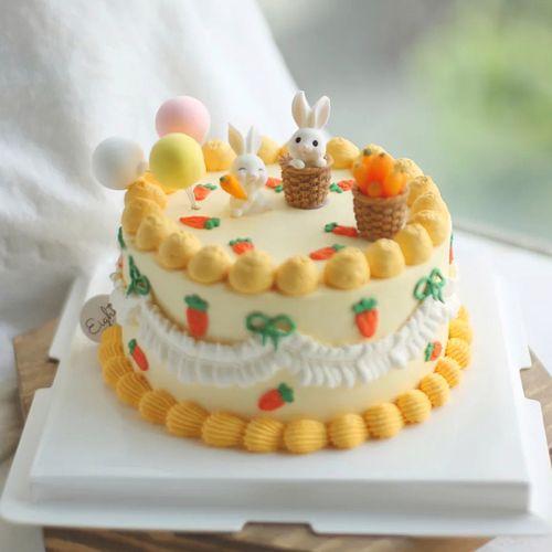 网红蛋糕装饰迷你小兔子胡萝卜复古蛋糕摆件ins韩风