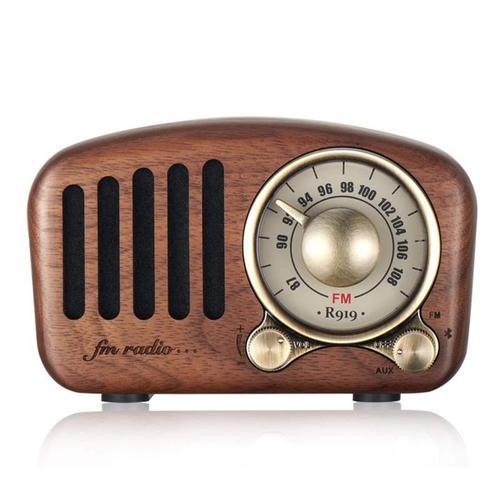 摇滚帮 蓝牙音箱音响 复古收音机手机无线低音炮迷你