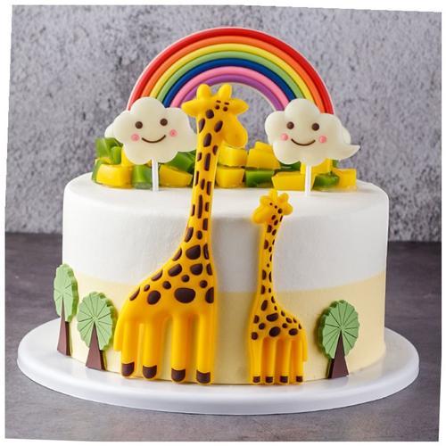 【更有趣,更健康】卡通长颈鹿蛋糕巧克力仿真彩虹模型