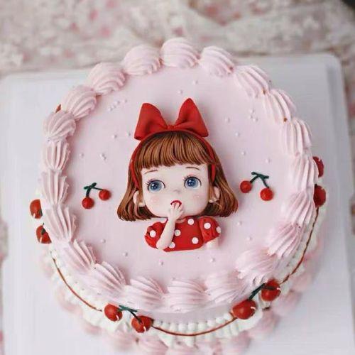 可爱软陶蝴蝶结樱桃红衣女孩烘焙儿童生日蛋糕装饰摆件甜品台派对