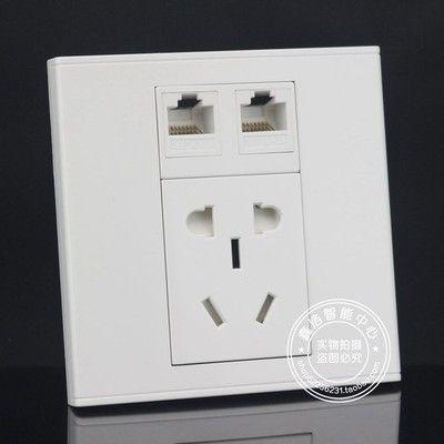 86型墙壁2口网络带电源插座面板国标小五孔二三插+双