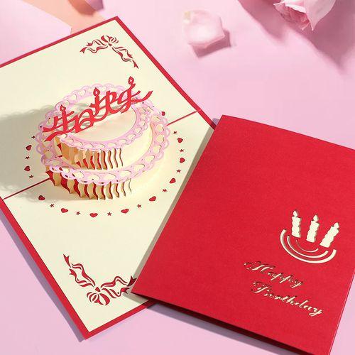 生日贺卡折叠立体三八妇女节明信片ins生日快乐卡片代