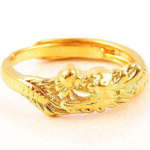 佩川 越南沙金龙凤情侣对戒一对 镀金永远爱男女款对戒活口欧币金戒指