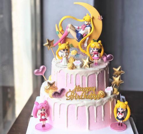 美少女战士月野兔水冰月生日蛋糕装饰摆件派对甜品台