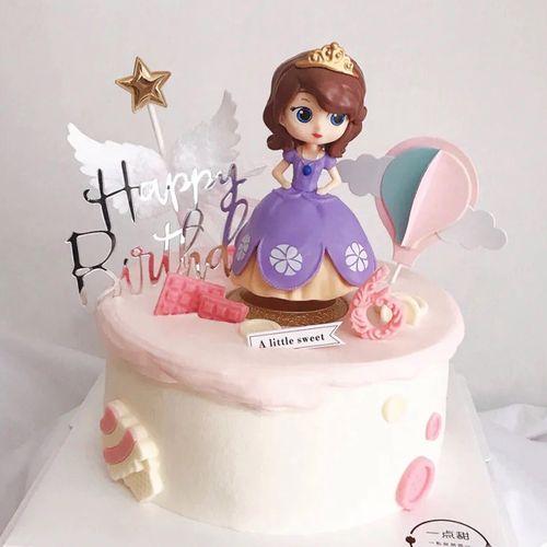 紫色公主公仔娃娃儿童卡通摆件送女孩人偶手办生日蛋糕装饰摆件