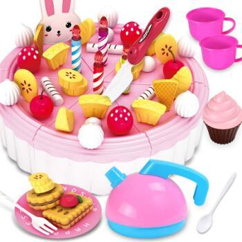 做蛋糕玩具 儿童过家家生日蛋糕玩具宝宝仿真厨房 水果切切乐小女孩