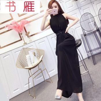 2020新款韩版网红时尚小女人挂脖修身长款洋气雪纺连衣裙配腰带潮