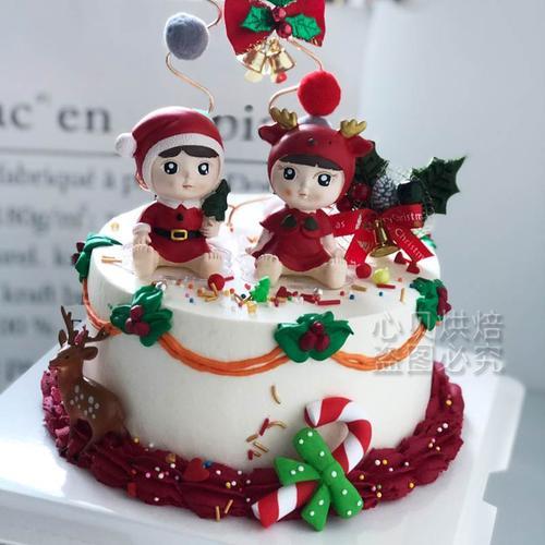 烘焙蛋糕装饰圣诞节男孩女孩摆件儿童生日圣诞树插卡