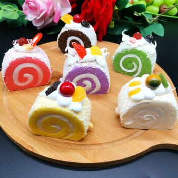 仿真蛋糕食物假甜品瑞士卷假蛋糕pu回弹面包模型饰品蛋糕装饰 黑色