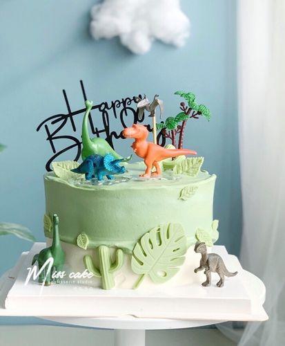 霸王龙蛋糕装饰男孩恐龙蛋糕装饰原始人蛋糕摆件儿童