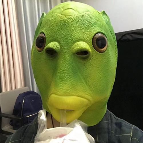 绿鱼人头套独角兽怪怪鱼猩猩万圣节面具血腥面具直