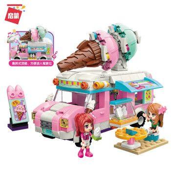 积木儿童拼装玩具益智力动脑多功能拼图3生日礼物6岁 粉粉蛋糕车2029
