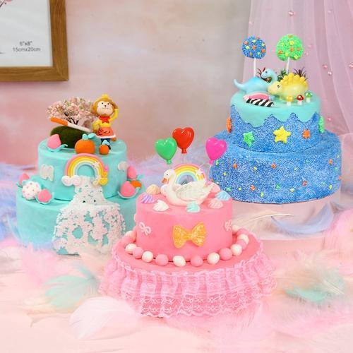 仿真diy蛋糕套装制作材料包 儿童超轻粘土手工粘贴自制玩具食玩