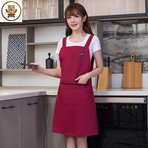 围裙厨房防水防油防溅可擦手男女士煮饭粉色大口袋专用卡通护衣