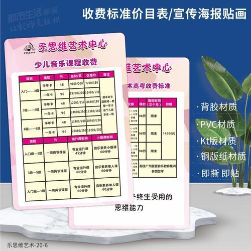 教育培训班收费标准牌定做pvc菜单设计制作展示牌菜谱