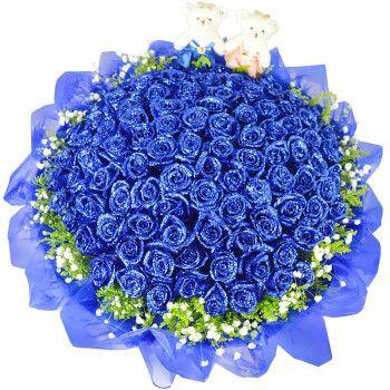 爱在此刻 鲜花速递19朵蓝色妖姬花束礼盒送女友闺蜜生日结婚纪念日