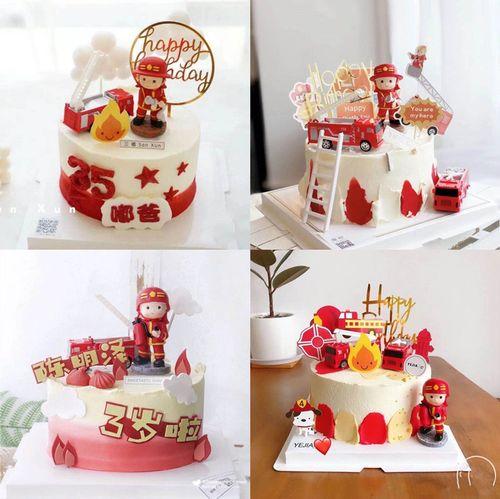 消防员蛋糕装饰摆件男孩宝宝生日周岁蛋糕装饰美丽逆行者装饰摆件