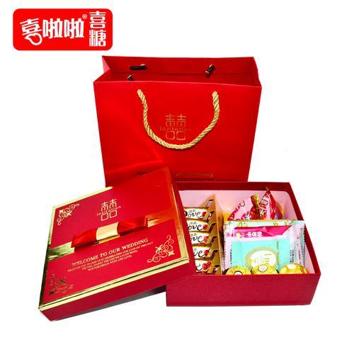 喜啦啦结婚喜糖礼盒成品含糖果回礼喜饼伴手礼订婚
