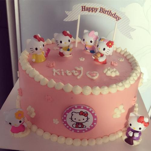 hello kitty蛋糕摆件6套装可爱卡通叮当猫生日蛋糕装饰插件扮玩具