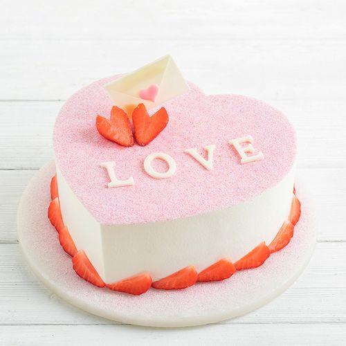 节专款蛋糕,丝滑白巧克力+新鲜草莓(上海幸福西饼蛋糕)