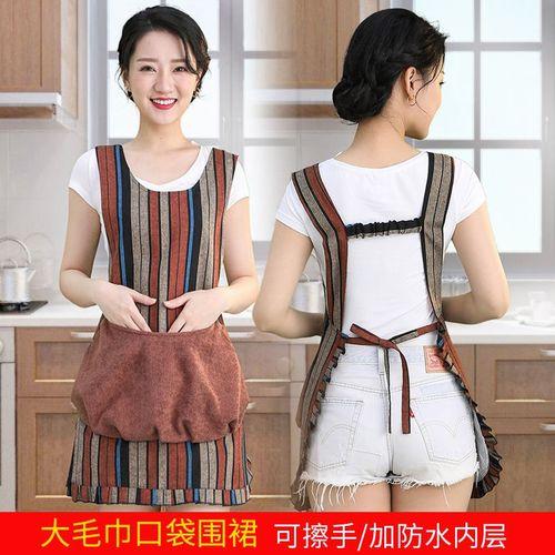 棉麻厨房防水防油擦手围裙女复古家用花边网红时尚大