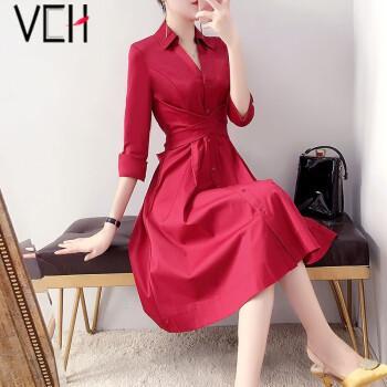 vch连衣裙2021春季新品时尚宽松大码女装大摆裙气质名媛红色中长裙