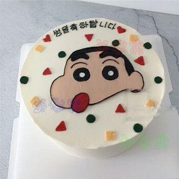 网红抖音蜡笔小新生日蛋糕同城配送手绘儿童卡通创意男女全国上海