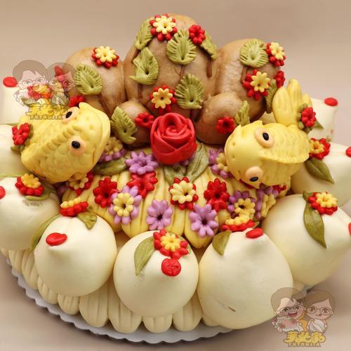 胶东花饽饽生日寿桃大馒头老人祝寿纯手工父亲节礼物