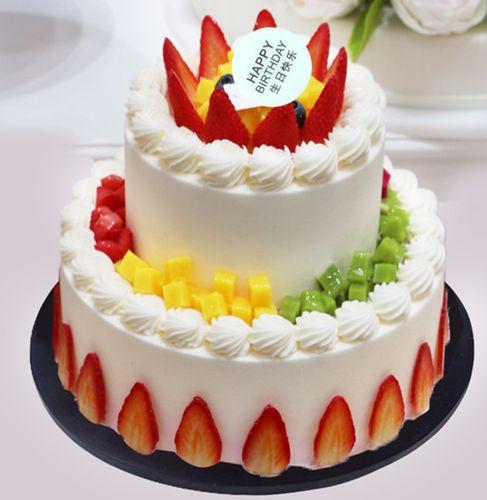 新款双层水果仿真蛋糕   欧式水果生日蛋糕模型 开业