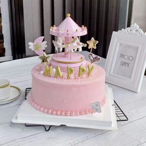 旋转木马蛋糕模型 卡通蛋糕模型仿真儿童泡沫假蛋糕