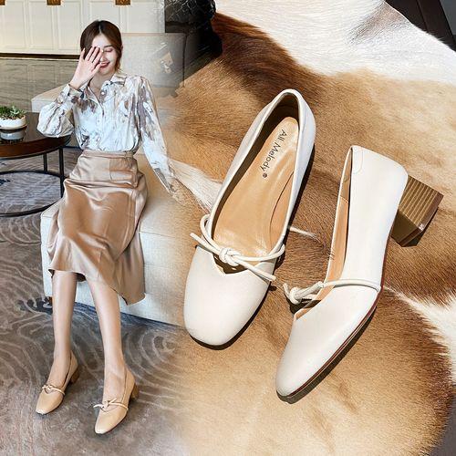 羊皮垫2021春夏新款方头粗跟女单鞋百搭玛丽珍鞋