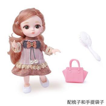 16厘米迷你芭比娃娃公主12关节玩偶叶罗丽小女孩套装礼盒儿童玩具 橘